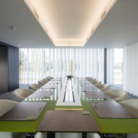 Vertical vinyl slats conference room